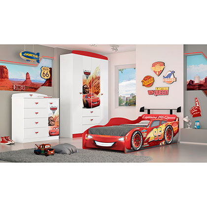 Cama 1 Plaza Disney 15567 Cars Star Rojo