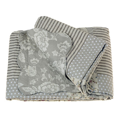 CUBRECAMA 1 PLAZA MAKENNA FLORAL PATCH GRIS