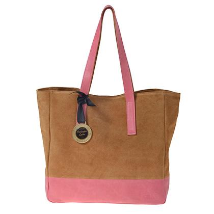 SHOPPER BAG PLEASE GO CRAZY  PROVOCATIVE LYCHEE CUERO ROSA GAMUZA CAMEL