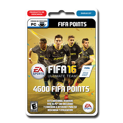 JUEGO PARA PC FIFA 16 ULTIMATE TEAM 4600 POINTS DESCARGABLE